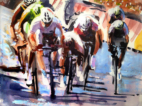 Bike Art Print featuring the painting Short Sharp Sprint by Shirley Peters