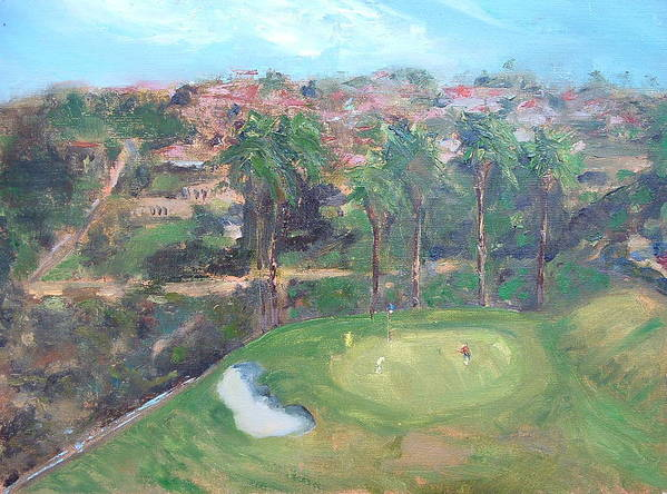 Golf San Clemente- 15th Hole -plain-air Art Print featuring the painting Signature Hole by Bryan Alexander