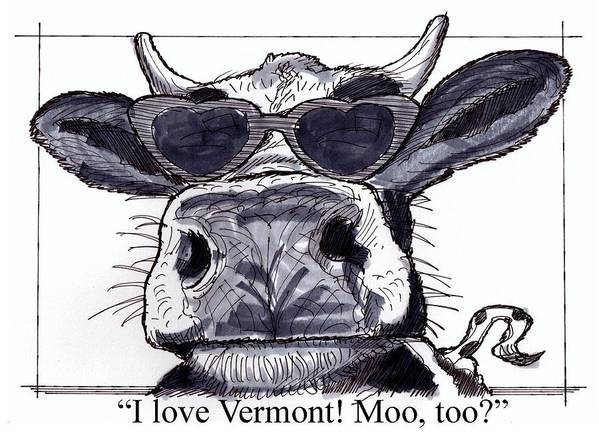 Cow Art Print featuring the drawing Silly Cow From Vermont by Richard Wambach