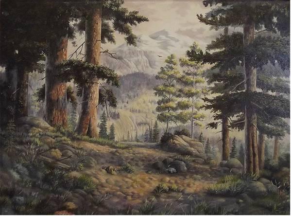 Slumgullian Mountain Colo. Art Print featuring the painting Slumgullian Pass by Wanda Dansereau