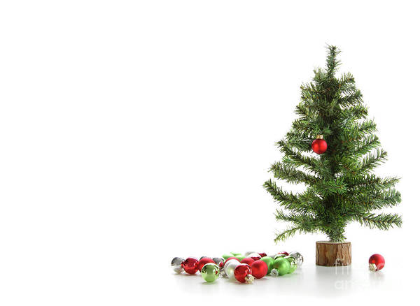 Artificial Art Print featuring the photograph Small Artifical Tree With Ornaments On White by Sandra Cunningham