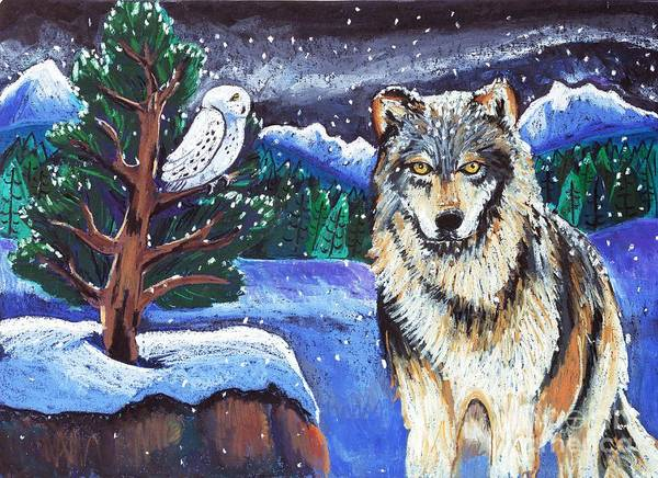 Wolf Art Print featuring the painting Snowy Night Wolf by Harriet Peck Taylor
