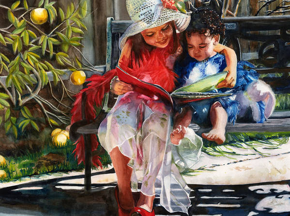 Sisters Art Print featuring the painting Snuggled by Maureen Dean