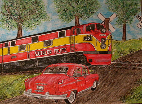 Southern Pacific Railroad Art Print featuring the painting Southern Pacific Train 1951 Kaiser Frazer Car Rr Crossing by Kathy Marrs Chandler