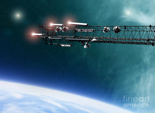 Space Art Print featuring the digital art Space Station Communications Antenna by Antony McAulay