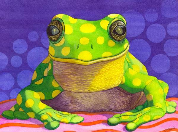 Frog Art Print featuring the painting Spotted Frog by Catherine G McElroy