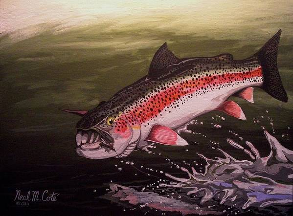 Rainbow Trout Print featuring the painting Squwalla Surprise by Neal Cote