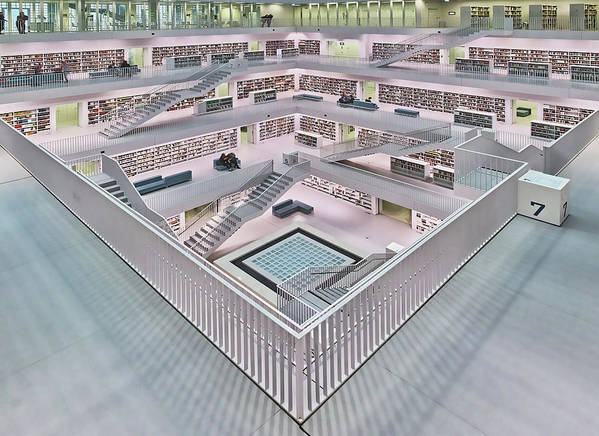 Architecture Art Print featuring the photograph Stadtbibliothek Stuttgart Inner Space I by Rolf Mauer