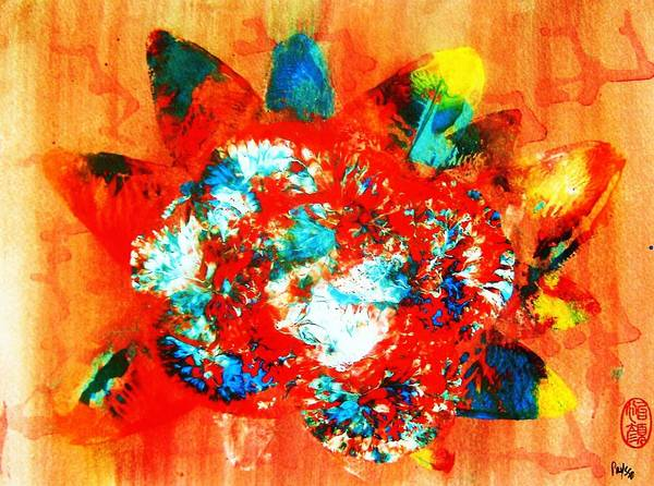 Abstract Art Print featuring the painting Starburst Nebula by Roberto Prusso