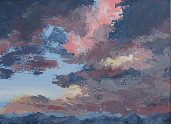 Stormy Sky Art Print featuring the painting Storm A Brewin by Janis Mock-Jones