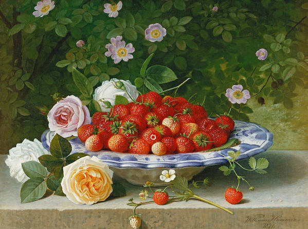 Still-life Art Print featuring the painting Strawberries In A Blue And White Buckelteller With Roses And Sweet Briar On A Ledge by William Hammer