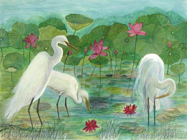 Lily Pads; Egrets; Low Country Art Print featuring the painting Summer Trilogy by Ben Kiger
