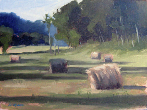 Haystacks Art Print featuring the painting Summer's Shade by Erin Rickelton
