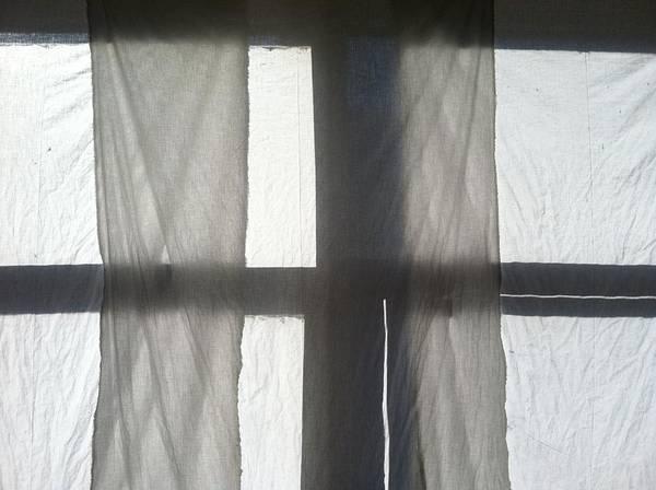 Window Print featuring the photograph Sun Up Through Luke's Curtains by Anna Villarreal Garbis