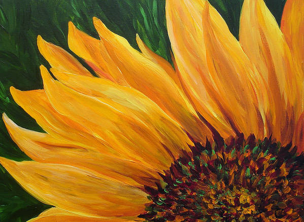 Flowers Art Print featuring the painting Sunflower From Summer by Mary Jo Zorad