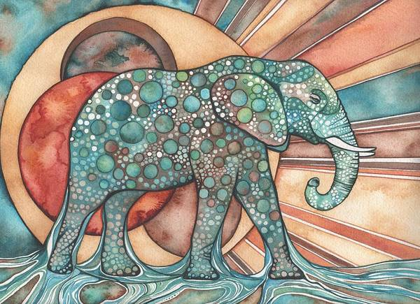 Elephant Print featuring the painting Sunphant Sun Elephant by Tamara Phillips