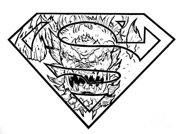 Justin Moore Art Print featuring the drawing Superman And Doomsday Pen And Ink by Justin Moore
