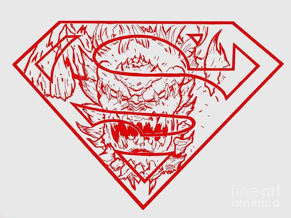 Justin Moore Art Print featuring the drawing Superman And Doomsday Red by Justin Moore