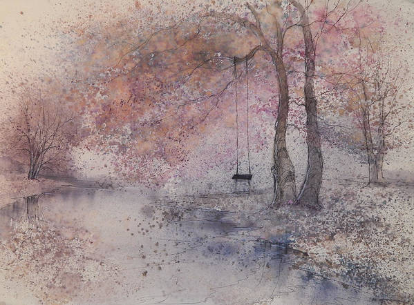 Beautiful Art Print featuring the painting Swing In Tree by Anna Sandhu Ray