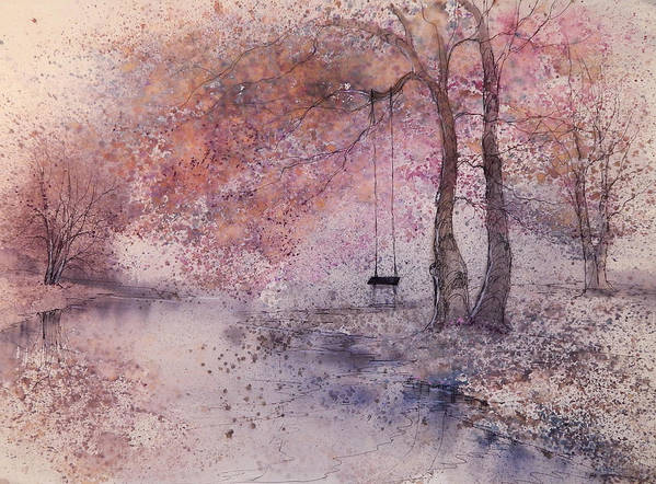 Beautiful Art Print featuring the painting Swing In Tree II by Anna Sandhu Ray