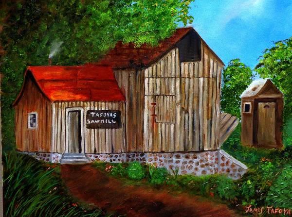 Janis_tafoya Art Print featuring the painting Tafoya's Old Sawmill In Colorado by Janis Tafoya