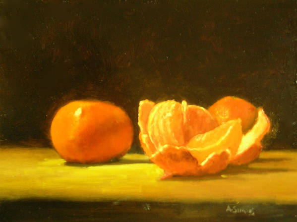 Tangerines Art Print featuring the painting Tangerines by Ann Simons