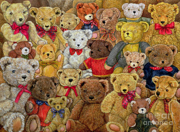 Teddy Bear; Bow; Teddies Art Print featuring the painting Ted Spread by Ditz