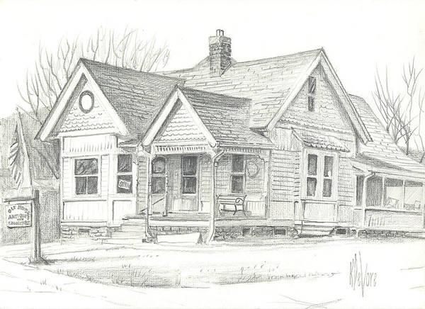 The Antique Shop Art Print featuring the drawing The Antique Shop by Kip DeVore