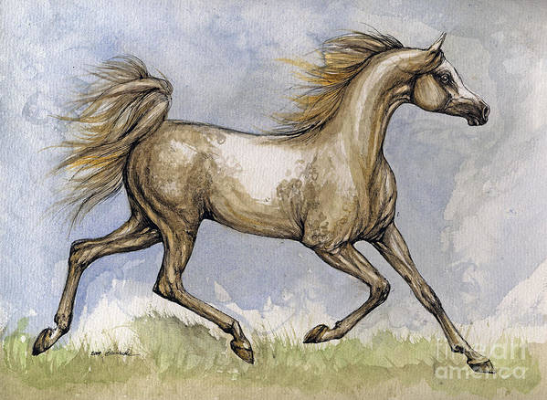 Mare Art Print featuring the painting The Arabian Mare Running by Angel Ciesniarska