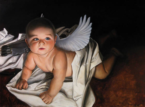 Angel Paintings Art Print featuring the painting The Awakening Of Eros by Eric Armusik