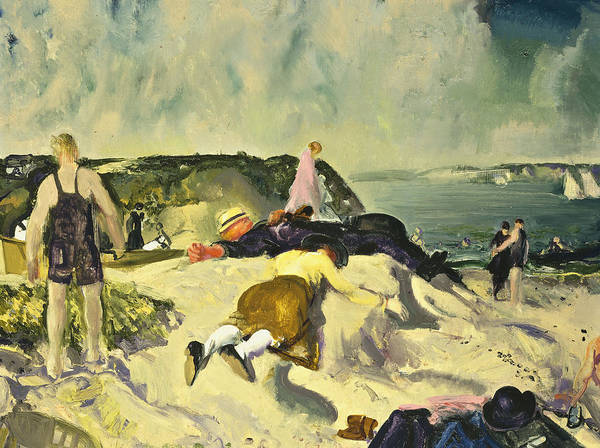 1910s; 1910's; 1919; 20th Century; Adult; American Artist; American Painting; Apparel; Artist American; Artist-american; Artwork; Ashcan School; Attire; Beach; Bellows; Caucasian; Caucasian Ethnicity; Cliff; Clothes; Clothing; Cloud; Cloudy; Coast; Coastal; Coastline; Day; Daytime; Dress; Early 20th Century; Early Twentieth Century; Ethnic Origin; Female; Freetime; George Bellows; George Wesley Bellows; Group; Human; Leisure; Leisure & Pastimes; Leisurely; Lying; Lying Down; Lying On Front; Art Print featuring the painting The Beach Newport by George Wesley Bellows