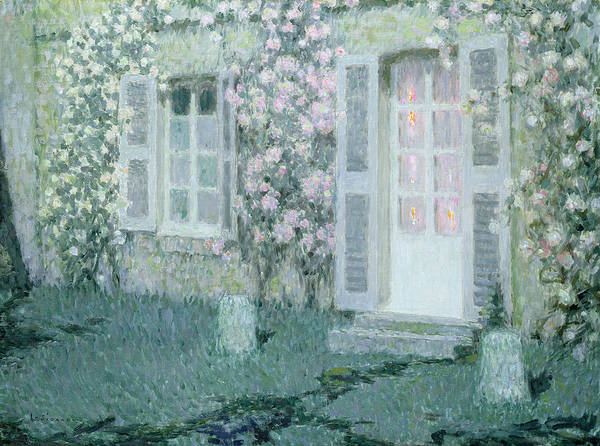 Post Impressionist Print featuring the painting The House With Roses by Henri Eugene Augustin Le Sidaner