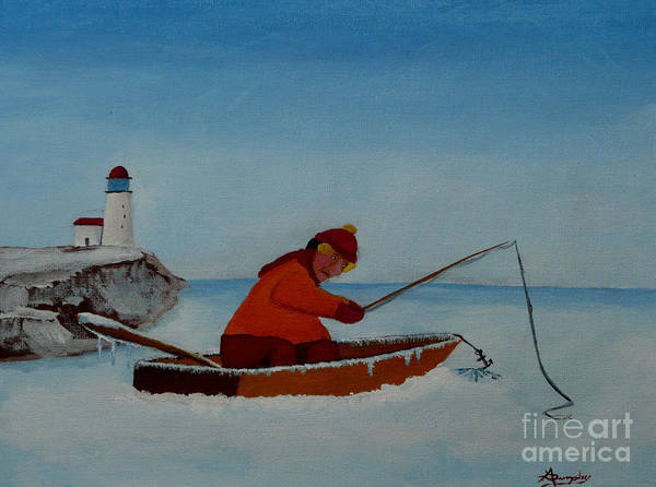 Stupid Art Print featuring the painting The Ice Fisherman by Anthony Dunphy