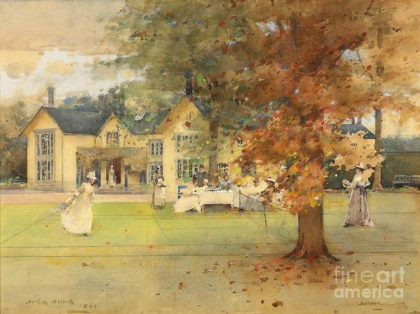 Lawn; Tennis; Party; Marcus; Society Life; Country House; Stately Home; Leisure; Sport; Sports; Pastime; Playing; Game; Match; Tennis Court; Victorian; Garden; Grounds; Estate; Tree; Autumn; Autumnal; Fall; Seasons; Female; Picnic; Al Fresco; Manor; Food; Drink; Maid; Servant Art Print featuring the painting The Lawn Tennis Party by Arthur Melville