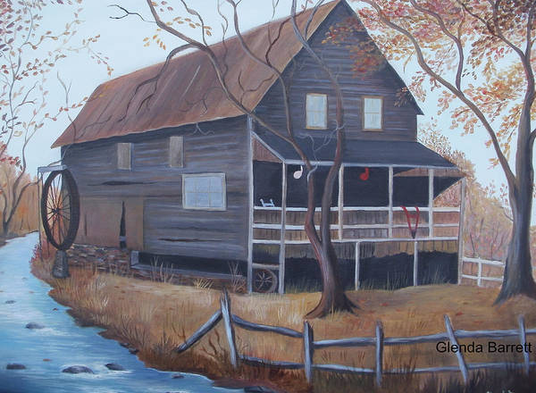 Original Art Print featuring the painting The Mill by Glenda Barrett