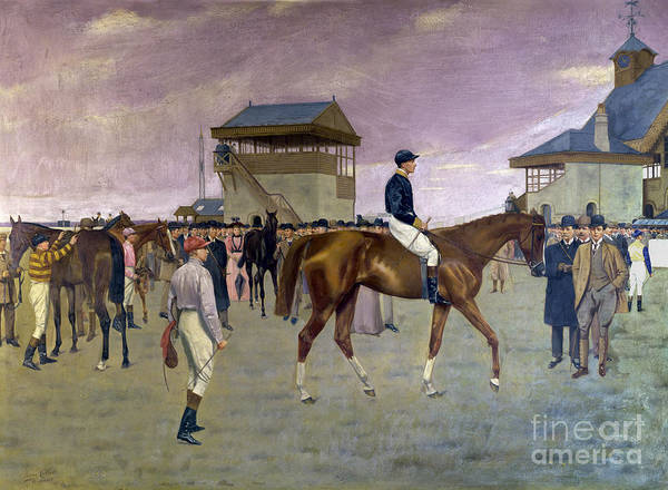Racehorse Art Print featuring the painting The Owner S Enclosure Newmarket by Isaac Cullen