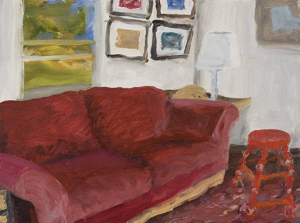Still Life Art Print featuring the painting The Red Sofa by William Van Doren
