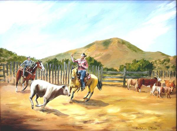 Ropers Art Print featuring the painting The Ropers by Gretchen Jones