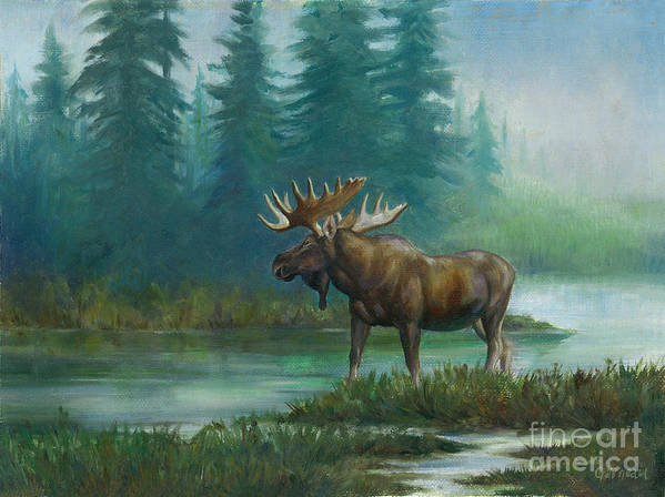 Moose Art Print featuring the painting The Sentinel by Catherine Garneau