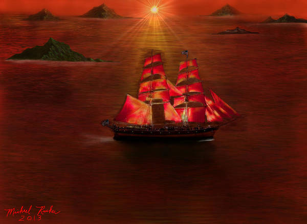 Voyage Art Print featuring the digital art The Voyage by Michael Rucker