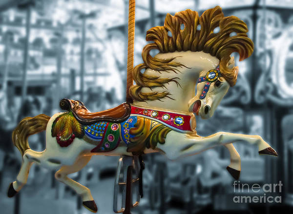 Carousel Print featuring the photograph The Wild Stallion by Colleen Kammerer