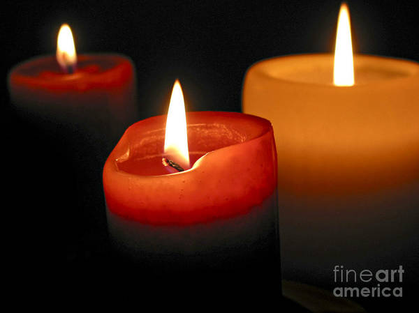 Candle Art Print featuring the photograph Three Burning Candles by Elena Elisseeva