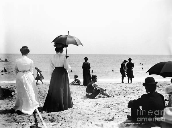 Black And White Art Print featuring the photograph Turn Of The Century Palm Beach by LOC Science Source