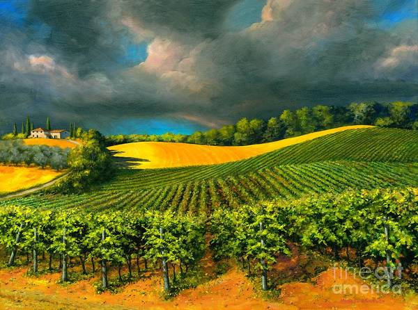 Grape Vine Landscape Art Print featuring the painting Tuscan Storm by Michael Swanson