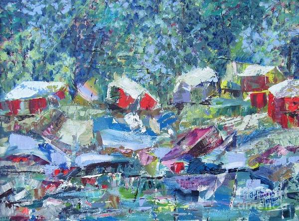 Landscape Art Print featuring the painting Two Canoes - Sold by Judith Espinoza