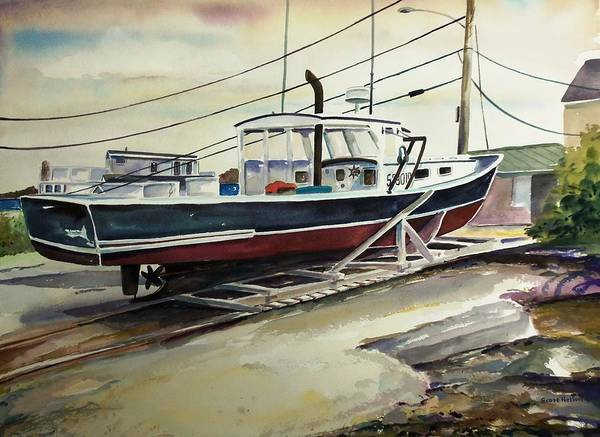 Perkins Cove Art Print featuring the painting Up For Repairs In Perkins Cove by Scott Nelson