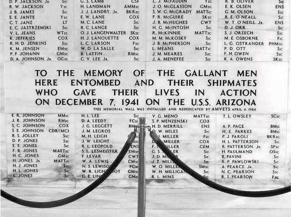 Pearl Harbor Memorial Print featuring the photograph U.s.s. Arizona Pearl Harbor Memorial by Barbara West