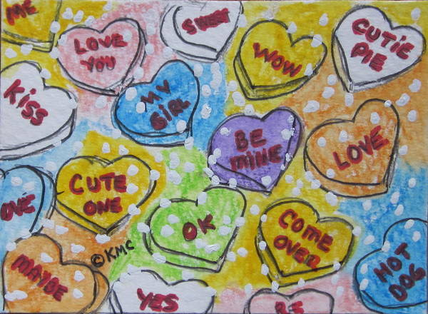 Valentine Art Print featuring the painting Valentine Candy Hearts by Kathy Marrs Chandler