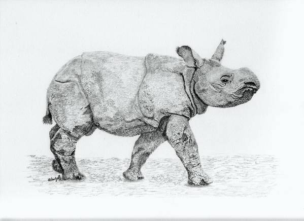 Baby Rhino Art Print featuring the drawing Wait Up Mom by Wendy Brunell