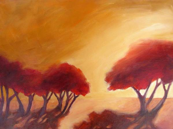 This Abstracted Landscape Is About The Shape Of The Trees And The Warm Light That Makes Everything Glow. Art Print featuring the painting Warm Light by Beverly Shaw-starkovich